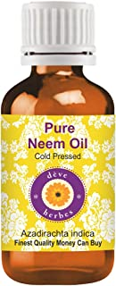 Deve Herbes Pure Neem Oil (Azadirachta indica) 100% Natural Therapeutic Grade Cold Pressed for Skin & Hair. (100ml (3.38 o...