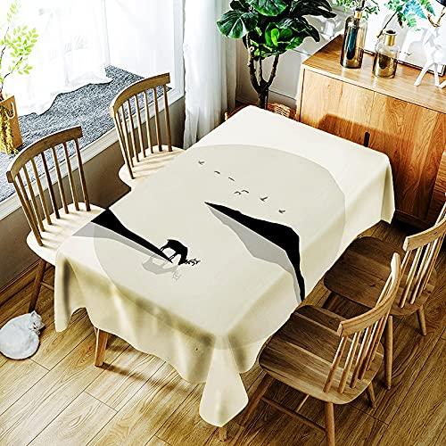 YUEMI Mantel Sencillo Y Moderno Algodón Y Lino Mantel Liso Antimanchas Impermeable Mantel Rectangular Apto para Interior Y Exterior Reutilizable 140x180cm