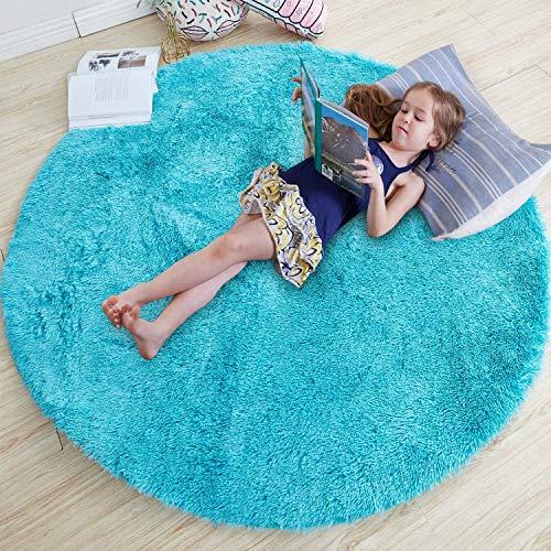 Runder Teppich für Schlafzimmer, flauschiger Kreis-Teppich, 122 x 122 cm, für Kinderzimmer, flauschiger Plüsch-Teppich für Jugendzimmer, türkiser Teppich, niedliche Zimmerdekoration für Baby (blau)