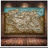 HHLSS Imagen de póster 70x90cm sin Marco Skyrim The Elder Scrolls Mapa del Juego Carteles e Impresiones Wall Art Decor Picture for Living Room Home Decor
