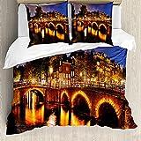 ABAKUHAUS holandés Funda Nórdica, Holandesa Canales y Puentes Lit, Estampado Lavable, 3 Piezas con 2 Fundas de Almohada, 200 cm x 200 cm - 80 x 80 cm, Multicolor