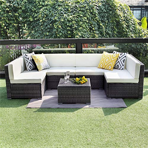 Wisteria Lane Patio Furniture Sofa Set, 7 PCS Outdoor Sectional Sofa Seating with Ottoman and Table, All Weather Grey Wicker