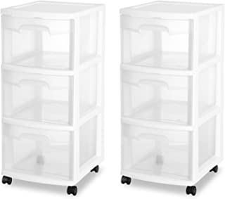 STERILITE 3 Drawer Cart, White Frame with Clear Drawers and Black Casters, (2-Pack)