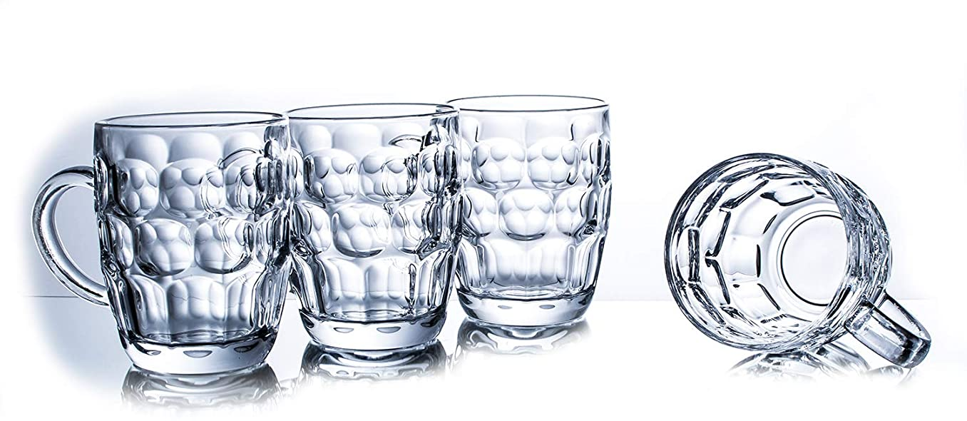 Glass Beer Stein Mug With Dimpled Design – Imperial Pint 19.2 Oz (Set of 4)