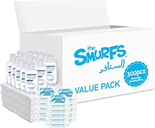 Smurfs Disposable Changing Mats 300 + Smurfs Water wipes 36 x15 + Vibrant Sanitizers 100 ML x15