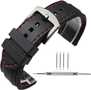 YISUYA Bracelet de montre en silicone étanche à l'eau avec boucle ardillon en acier inoxydable/surpiqû...