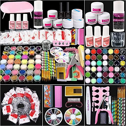 Acryl Nail Kit, Nail Art Set Acrylpulver Liquid Brush Shiny Glitter Clipper Datei Französische Tipps Nail Art Dekoration Tools Professionelle Maniküre Geschenkset T7