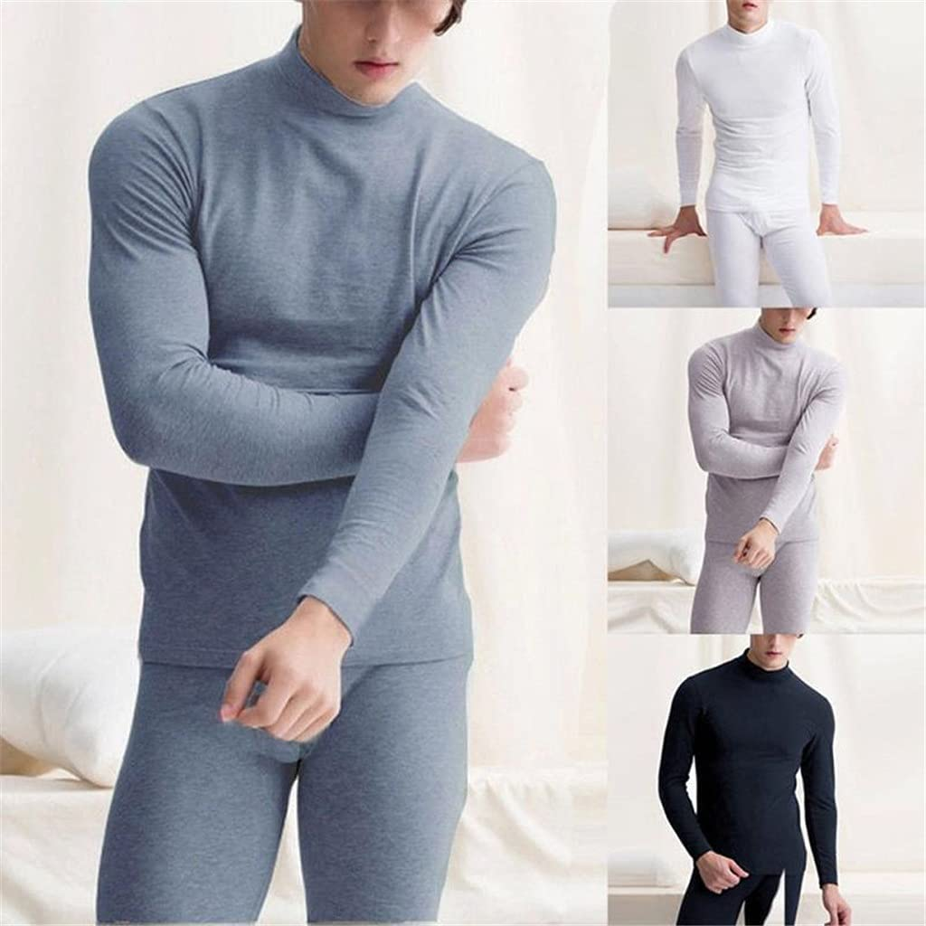 GELTDN Winter Thermal Underwear Men Long Thermal Suit Polyester Comfortable Warm Tops Pants Piece Set Thermal Underwear (Color : D, Size : XL Code)