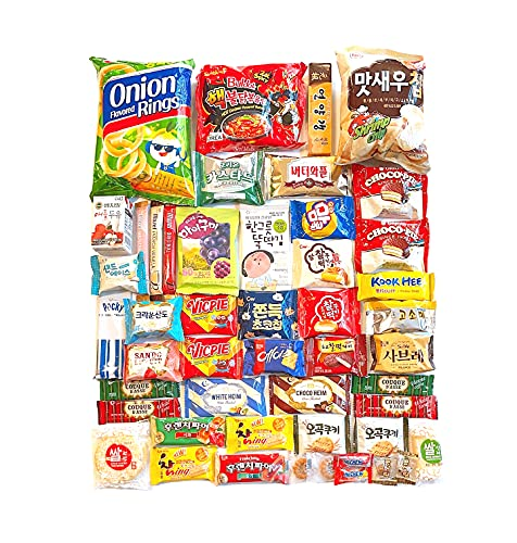 Korean Snack Box Variety Pack - 46 Count Individual Wrapped Gift Care Package Bundle Sampler Assortment Mix Candy Chips Cookies Ramen Gummy Treats for Kids Children College Students Adult Senior