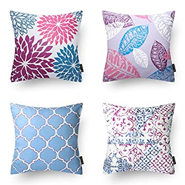 PHANTOSCOPE New Living Series Blue&Purple Decorative Throw Pillow Case Cushion Cover 18  x 18  45cm x 45cm Set of 4