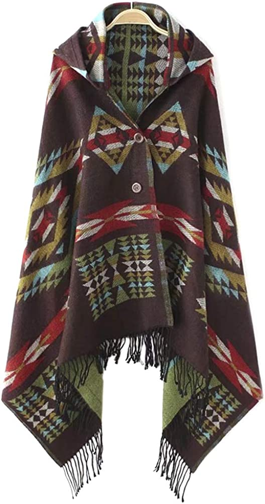 QZUnique Women's Hoodie Tassel Knit Poncho Shawl Cape Wrap Scarf Button Cardigan