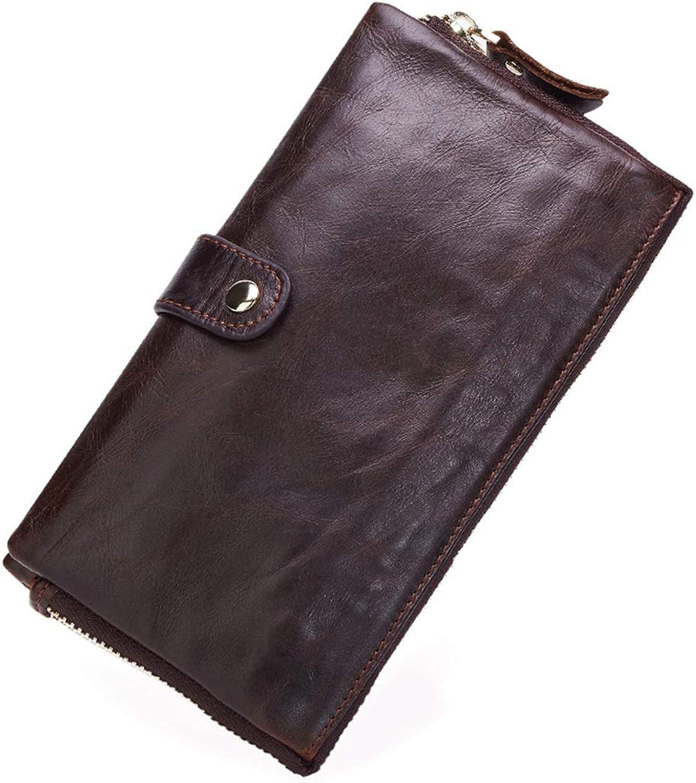LINDANIG Leder Herren Geldbörse Große Kapazität Lässig Retro Reißverschluss Lange Geldbörse Leder Handtasche (Farbe   Dark braun) B07MK2WBNZ