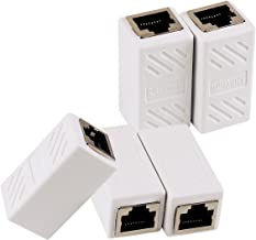 Ethernet RJ45 Adapter - Shielded in-Line Coupler for Cat7/Cat6/Cat5e/cat5 Ethernet Cable Extender Connector - Female to Female, White - 5 Pack