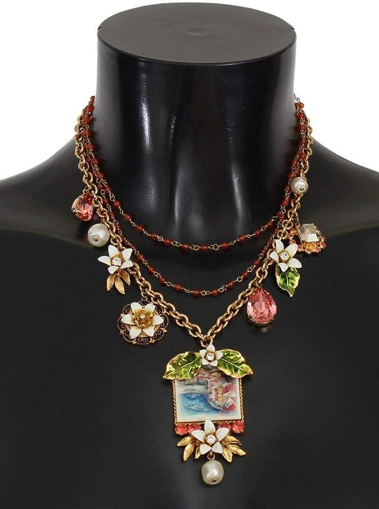 Dolce & gabbana sicily, collana da donna in oro, con ciondoli e con con perline di cristallo floreale SMY113