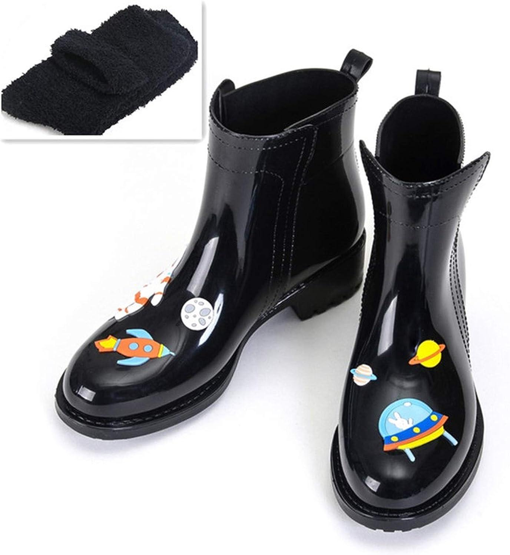 FAT BABY Women PVC Ankle Rain Boots Cartoon Animals Waterproof Water shoes Woman Rainboots Wellies