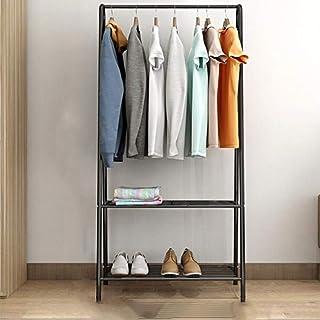 XYBB Armario Dormitorio Simple Metal Hierro Multifuncional Piso De Pie Ropa Colgando Muebles De Dormitorio 152 * 60 * 36cm Negro