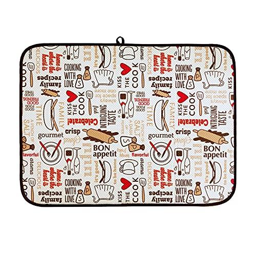 DRWhem 45 x 60cm Tapis de Séchage en Microfibre Tapis égouttoir à Vaisselle Résistant à La Chaleur Antidérapant Lavable Super Absorbant pour Ustensiles de Cuisine Comptoir d
