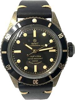 Sea Diver Acero Bronce Automático Negro Cuero Reloj Unisex