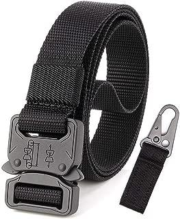 Adjustable Nylon Canvas Belt Breathable Men Waist Belt With High Strength Buckle For Training Running (Color : Black, Size : 125cm)