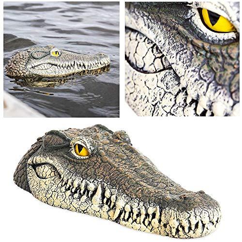 Geggur Schwimmender Krokodil-Kopf, gefälschter Alligatorkopf, Wasserköder, Teich-Dekoration, für Pool, Teich, Garten, Terrasse, lustige Teichdekoration, 33 cm