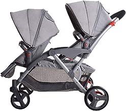 Sillas de Paseo Cochecito de bebé gemelo, cochecito plegable de descanso, con el paraguas, carretilla doble Bebé Carritos Sillas de Paseo (Color : B)