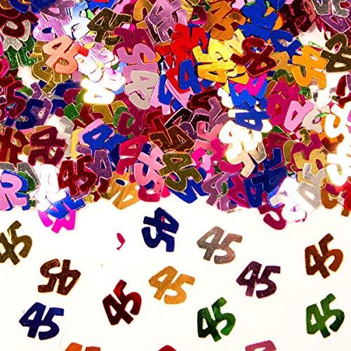 Folat Bunt glitzerndes Konfetti mit Geburtstagszahl: 45 // Tüte mit 15g (ca. 1000 einzelne Konfetti's) // Deko Tischdeko Jubiläum Zahlenkonfetti Metallkonfetti Streukonfetti Geburtstag Birthday