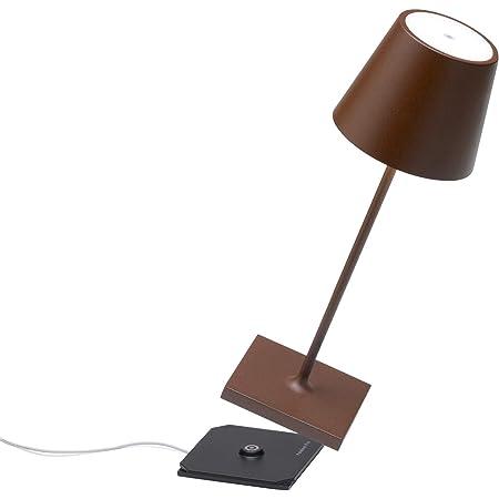 Zafferano Poldina Pro Mini - Lampe de table LED à intensité variable en aluminium, Protection IP54, Utilisation intérieure/extérieure, Base de chargement par contact, H30cm, Prise UE - Corten