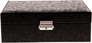 Prettyia Jewelry Box Storage Cabinet Organizer Necklace Chest Two-Layer Case with Lock - Black