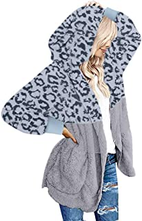 Womens Casual Leopard Print Fuzzy Hoodies Cardigan...