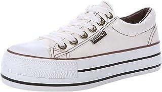 Renben Filles Femmes Classique Plateforme Talon Compensé Bas Baskets en Toile Sneakers Mode Lacer Chaussures Espadrille