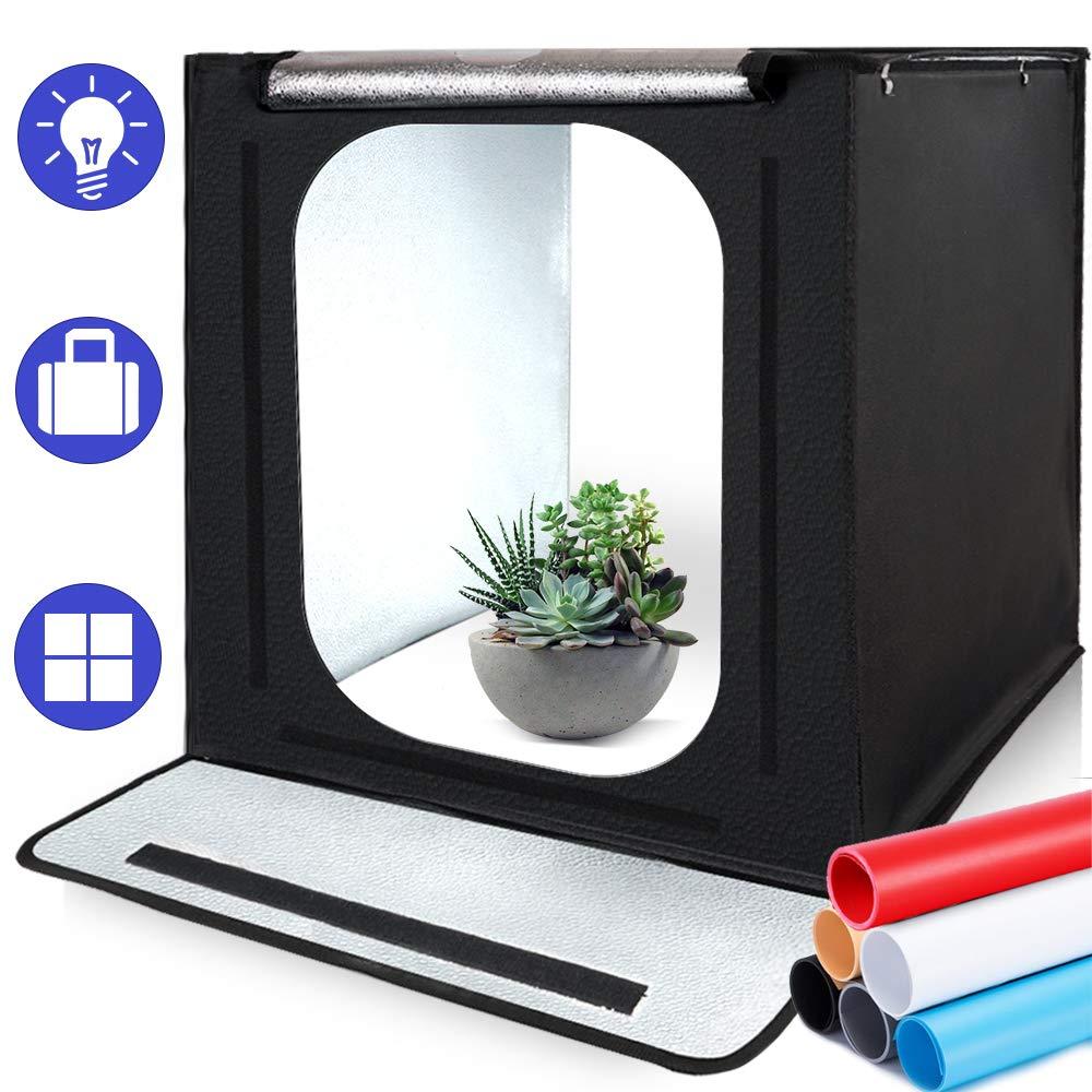 Estudio de Fotografía, SAMTIAN 16x16x16 / 40 * 40 * 40cm portátil Caja de iluminación para Estudio fotográfico con 6 Tarjetas de Fondo (Negro, Blanco, Gris, Rojo,Beige y Azul) para fotografía: Amazon.es: Electrónica