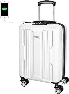 Maleta Cabina Avión 55x40x20 con Candado TSA y USB de Carga, Maleta de Viaje Equipaje de Mano Full Forrada con 4 Doble-Ruedas 360° Giratorias