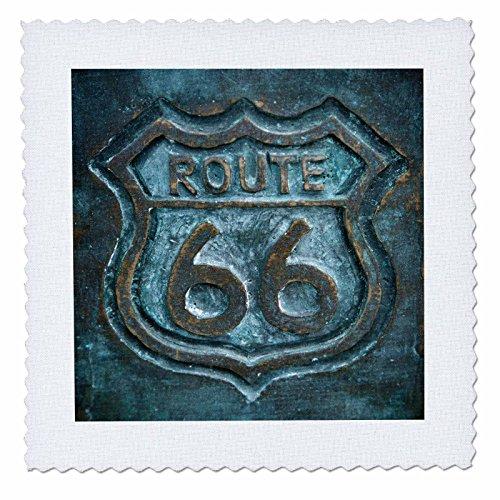 3dRose Joliet, Illinois, Estados Unidos, Ruta 66 Sign Colcha cuadrada, multicolor, 25,4 x 25,4 cm
