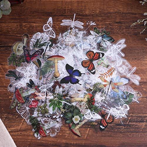 Lychii Scrapbooking Aufkleber, 320pcs dekorative Klebe Aufkleber, Monet's Garden Series Washi-Papieraufkleber für Basteln, Tagebuch, Kartenherstellung, Kalenderplaner und Handyhüllen