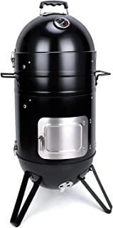 Sougem Charcoal Smoker Grill 14 inch Vertical Combo Water Smoker with a Grill Cover, Black