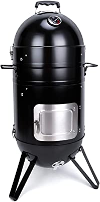 Sougem Charcoal Smoker Grill Black 14 inch Vertical Multi Function Stainless Steel Grilling Smoker with Temperature Thermometer