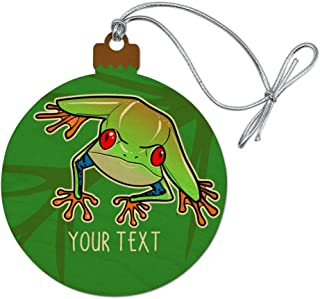 GRAPHICS & MORE Personalized Custom 1 Line Tree Frog on Leaf Wood Christmas Tree Holiday Ornament