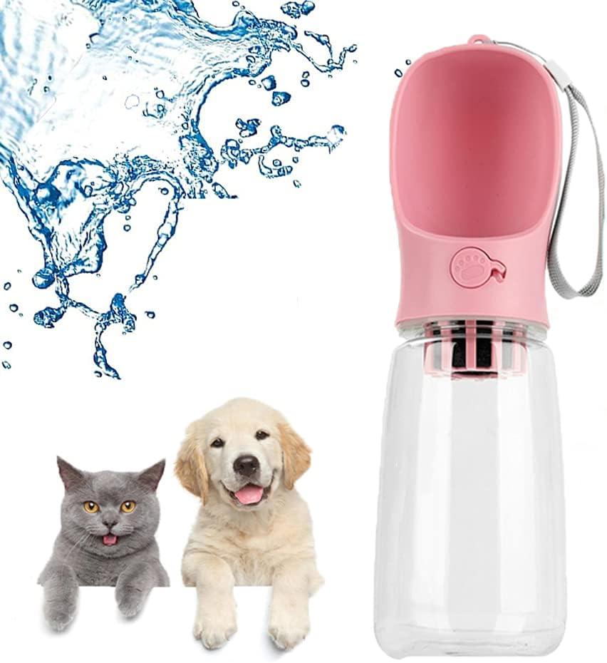 Botella de Viaje para Mascotas,Recipiente de Agua para Perros de Viaje,550ml Dispensador de Agua Antibacteriano para Mascotas Sin BPA, con Carbón Activado Purificante