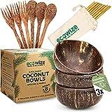 Ecowize - Kokosnuss Schale (3er Set) mit extra Löffeln, Gabeln & Strohhalmen aus Holz & Bambus | Von Hand gefertigte Kokos Schale | Coconut Bowl Schüssel aus 100% Kokosnuss | Nachhaltige Geschenke