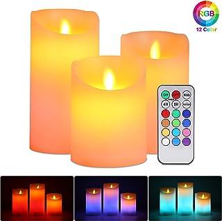 ALED LIGHT Velas de LED sin Llama, Pack de 3 Blanco Cálido más Multicolores Velas Electricas de Cera Reales con Mando a Distancia y Temporizador Velas Decorativas de Pilas para Decoración, Bodas