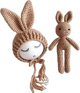 YeahiBaby Newborn Baby Knit Rabbit Bunny Hat Beanie With Rabbit Dolls Photography Photo Prop accessories (Light Tan)