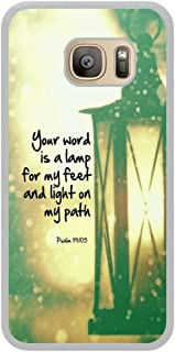 EMERALD USA - Amaze your world!! - - Psalm 119:105 your word is a lamp for my feet and light on my path christian bible verses quotes theme for Samsung Galaxy S7 EDGE - White Rubber Case Cover