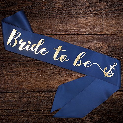 YULIPS Bride to Be Sash - Bachelorette Party Sash Bridal Shower Hen Party Wedding Decorations Party Favors Accessories (Navy Blue with Gold Lettering)