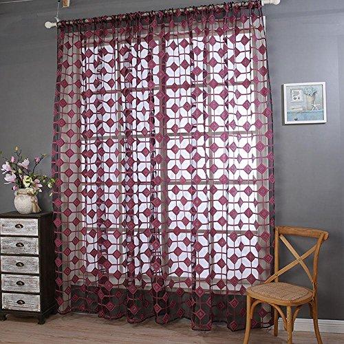 LCurtains 1 Paire Polyester Demi ombrage 70% Rideau de fenêtre, Red, 100 * 200cm