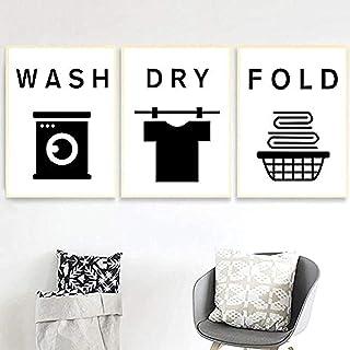 Mocarrie Poster De La Buanderie De Din Animé Lavage Du Fer Dry Fold Citations Mur Art Photos Funny Tips 3 Pièces Toile Pei...