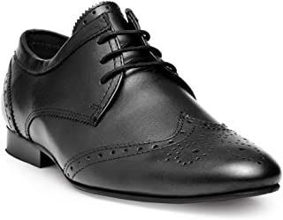 HATS OFF ACCESSORIES Genuine Leather Black Derby Brogue Shoes