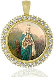 St Elizabeth Of Portugal Christian Round Medal Gold Tone Pendant with Rhinestones