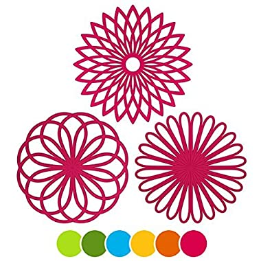 ME.FAN 3 Set Silicone Multi-Use Flower Trivet Mat - Premium Quality Insulated Flexible Durable Non Slip Coasters Hot Pads Fuscia