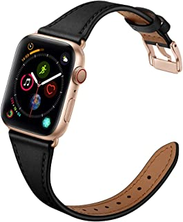 OUHENG Compatible with Apple Watch Band 38mm 40mm, Women Slim Genuine Leather Band with Stainless Steel Buckle Replacement Strap for iWatch Series 5 4 3 2 1, Black Band + Rose Gold Adapter