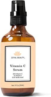 Organic Vitamin C Serum 20% for Face and Skin by Joyal Beauty. Premium Vitamin C E Ferulic Hyaluronic Acid Witch Hazel Combination Antioxidants Professional Formula for Healthy Glowing Skin. 1 OZ.